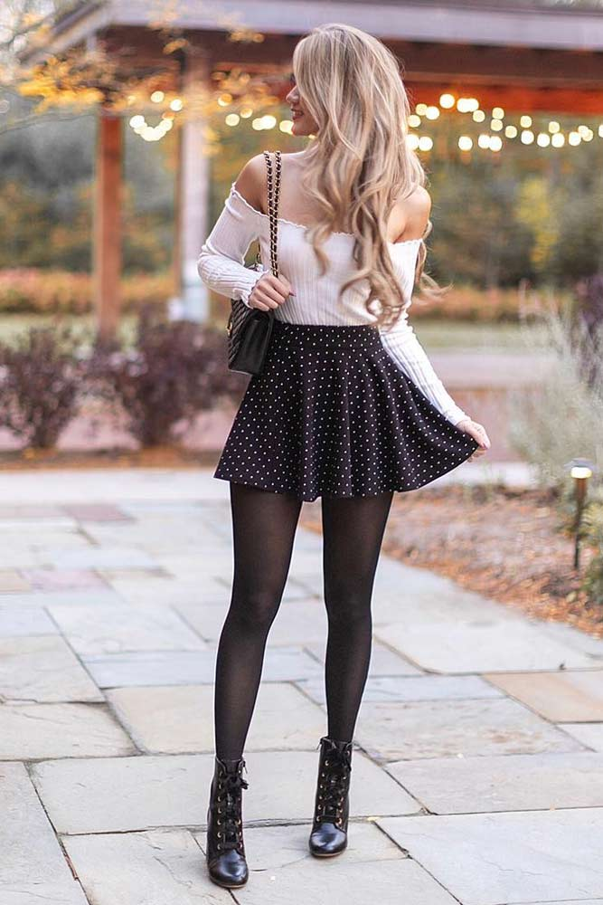 Mini Skirt With Off The Shoulders Top #offtheshoulderstop #miniskirt