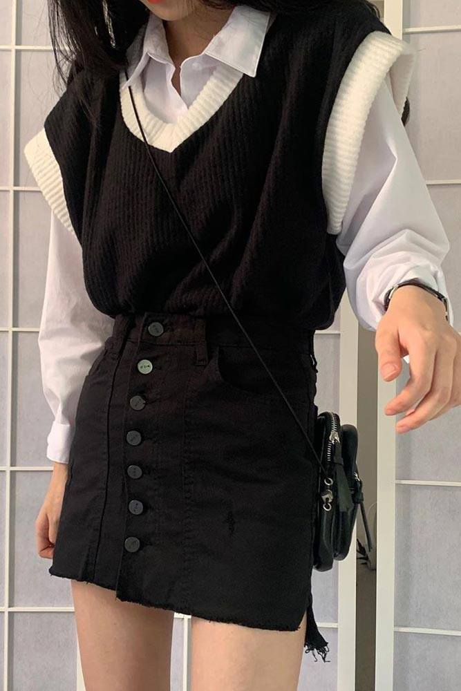 Black And White School Outfits With Vest #vest