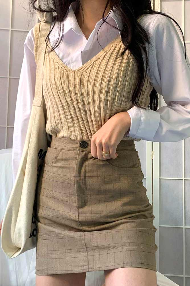 Beige Colored Outfits With Vest #vest
