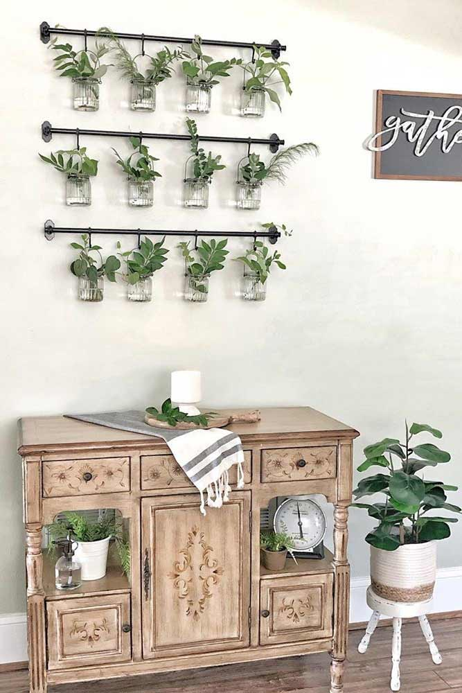 Wall Decor With Greenery In Jars #greenery