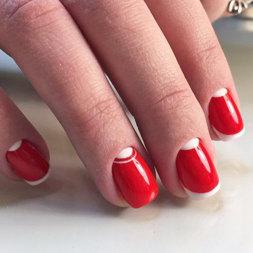 Classic Red and White Mani
