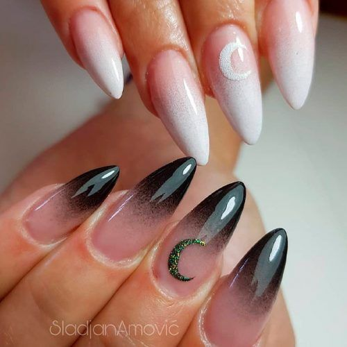 Black And White French Fade #ombrebnails #blacknails #whitenails
