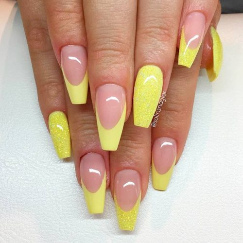 Stunning Yellow French Mani With Sparkly Accents #yellownails #coffinnails