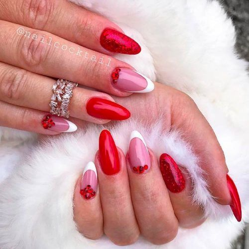 Classic French And Shiny Red Nail Design #rednails #glitternails