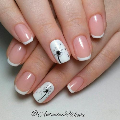 Gentle Dandelion Nail Art #summernails #handpaintednails