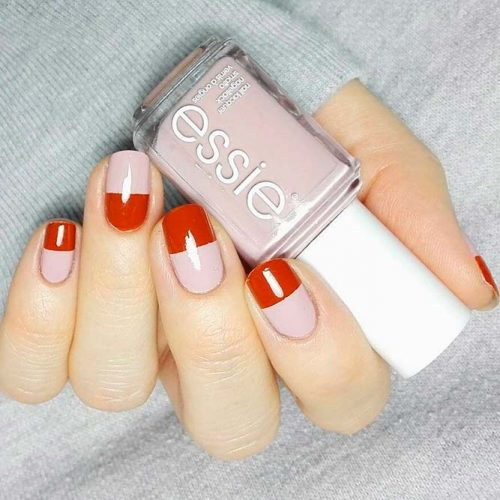 Stylish Alternative: Blocked-Off Nails #rednails #nudenails