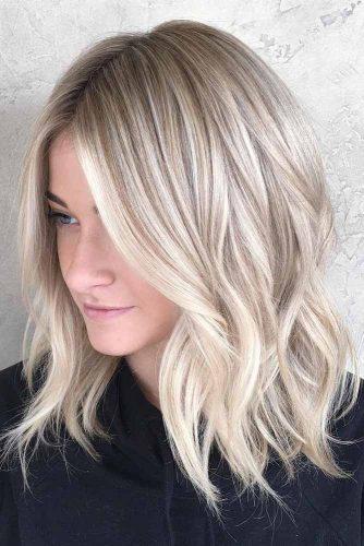 Lovely Blonde Balayage Medium Hair picture 1