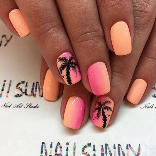Tropical Paradise Short Nail Design #tropicalnails #palmnailart