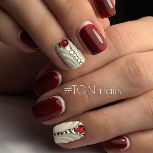 Dark Red And White Nail Design #rednails #negativespace