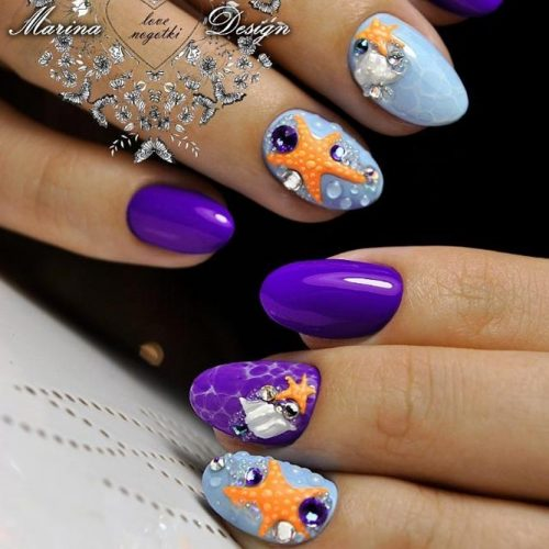 Fresh Short Nails Design With Starfish Art #starfish #patternednails