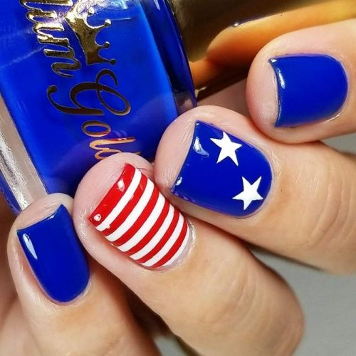 Stars And Stripes Nail Design #redwhiteblue #starsnailart