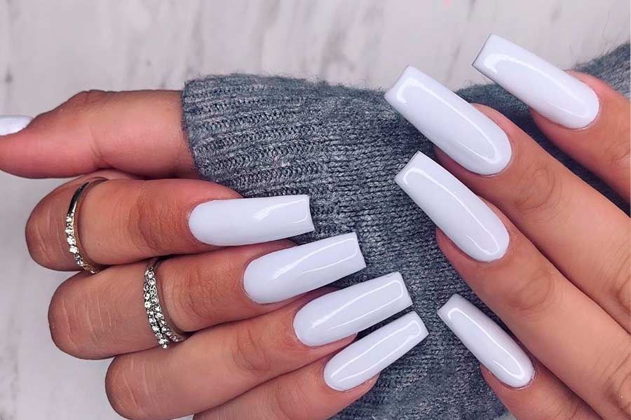 Fancy White Coffin Nails Designs