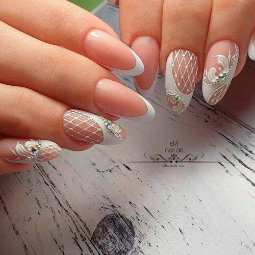 Sweet Lace Nail Art #rhonestonesnails #lacenails