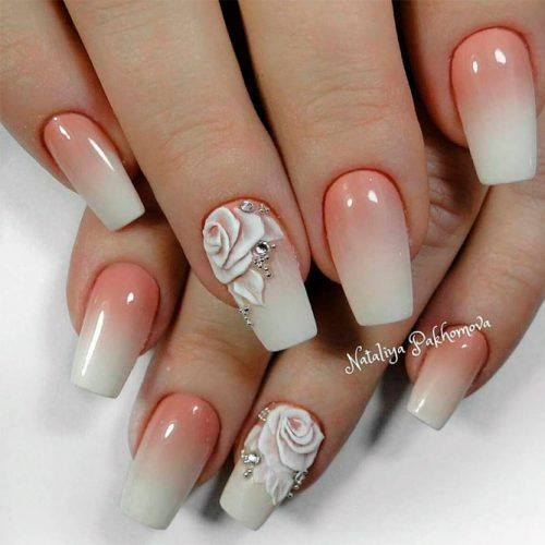 French Fade Nail Art With 3-D Roses #ombrenails #nudenails