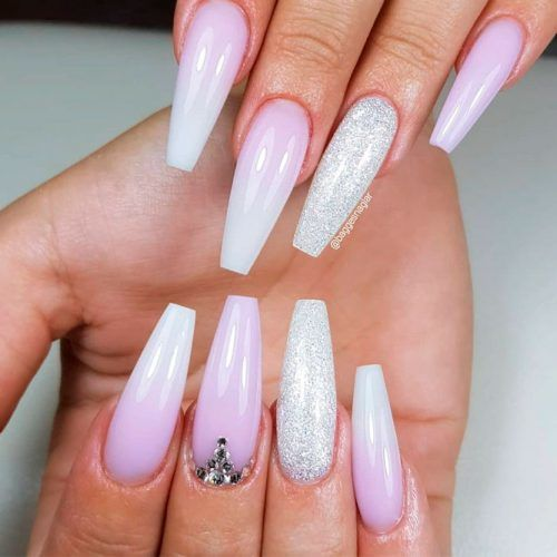 Soft Ombre With Glitter Accented Finger #glitternails #ombrenails