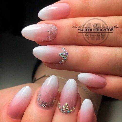 French Fade Nails With Rhinestones #ombrenails #rhinestonesnails