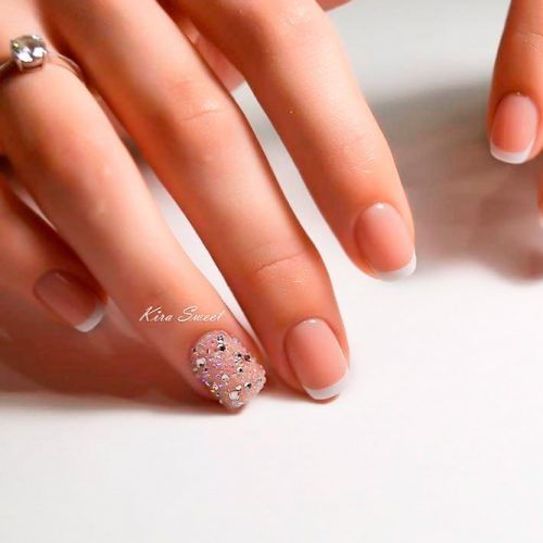 Wedding French Nails With Rhinestones #rhinestonesnails #accentedfinger