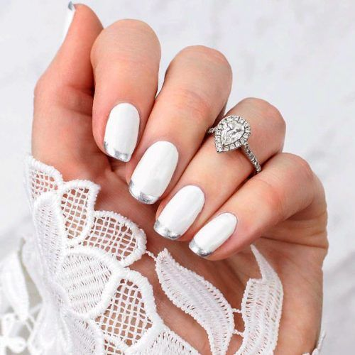 Wedding Nails With Silver Wedding Nails #frechnails #whitenails