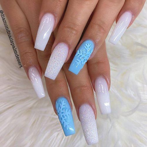 White Coffin Nails With Blue Accent #frozennails #winternails
