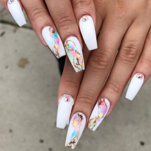 White Coffin Nails With Colorful Marble Art #marbleart