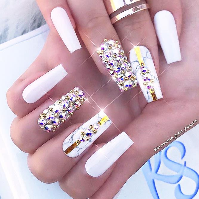 White And Gold Crystals Nails Design #crystals #goldstripes