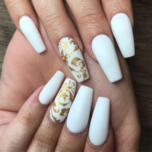 Cute White Coffin Nail picture 6