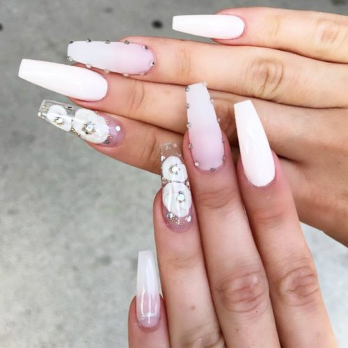 33 Fancy White Coffin Nails Designs