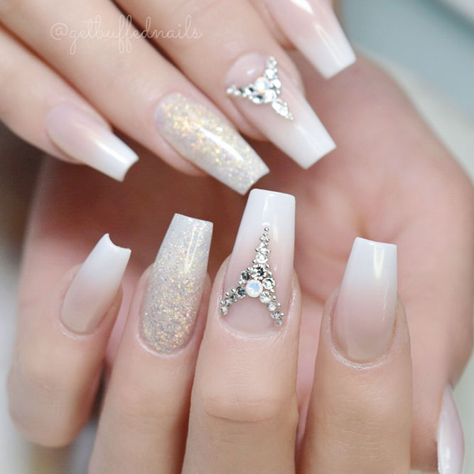 Amazing Designs for Coffin Nail Shape #ombrenails #rhinestonesnails #glitternails