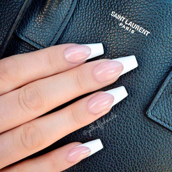 Classic French Coffin Nail Design #frenchnails #easynailart
