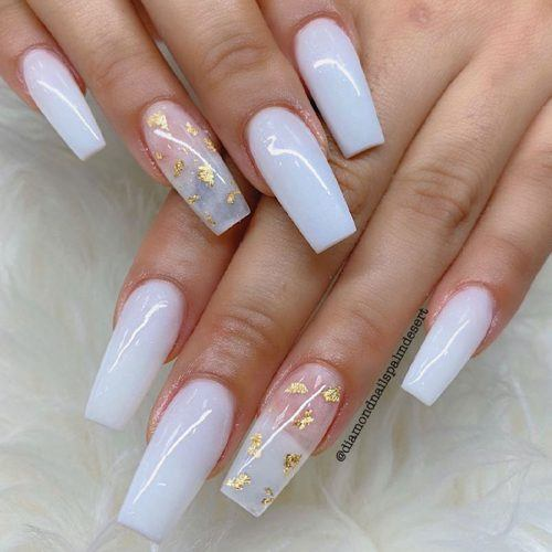 White And Gold Nail Design #goldfoilnailart #easynailart