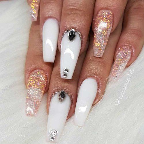 White And Gold Crystals Nails Design #goldglitter