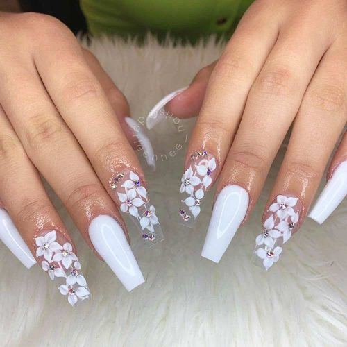 Long White Coffin Nails With Flowers #floralart