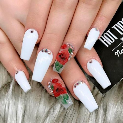 Cute White Coffin Nails Picture 5