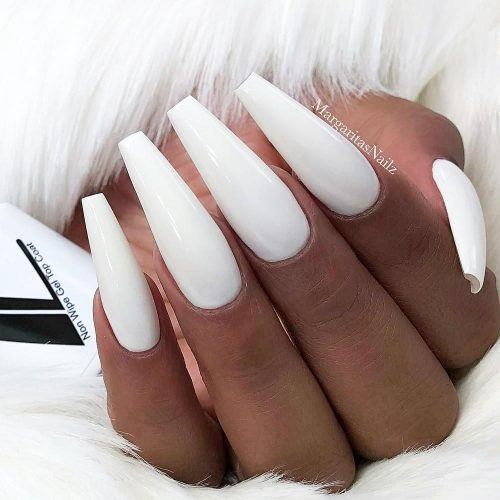 Pure White Coffin Nails #longcoffin