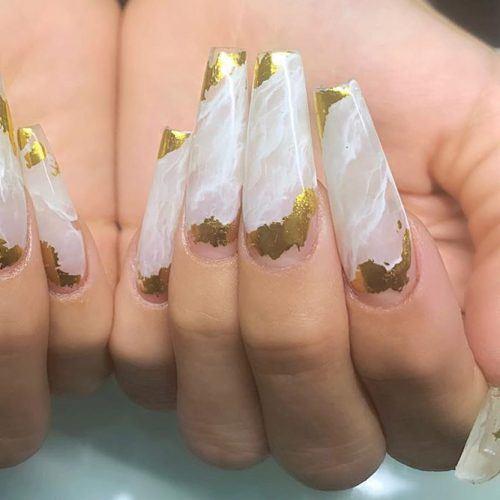 Marble Nail Design With Gold Foil #foilnails #marblenails
