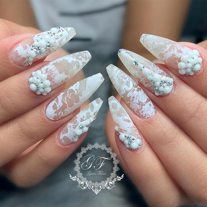 Transparent Nails With White Patterns #patternednails