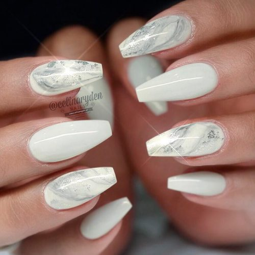 Amazing Designs for Coffin Nail Shape #marblenails - 33 Fancy White Coffin Nails Designs