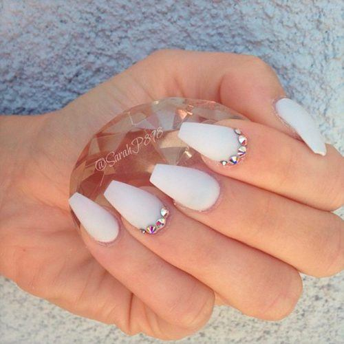 White Coffin Nails With Silver Rhinestones #mattenails #crystalsnails