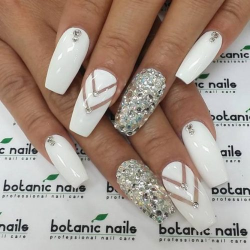 White Coffin Nails With A Glitter Accent #crystalsnails #stripednails
