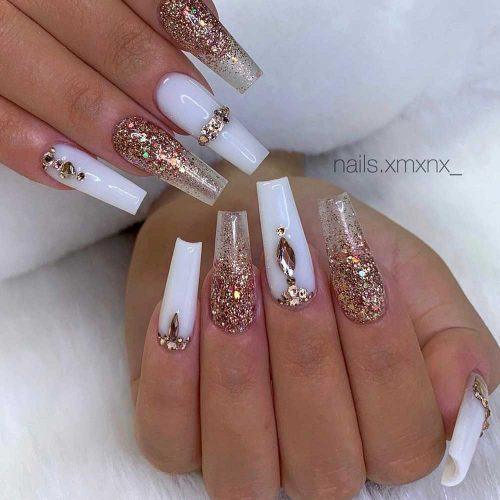 Glam Coffin Nails With Glitter Ombre #goldglitter
