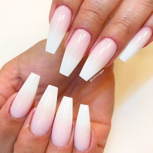 Easy French Fade Coffin Nails #frenchfadenails #ombrenails