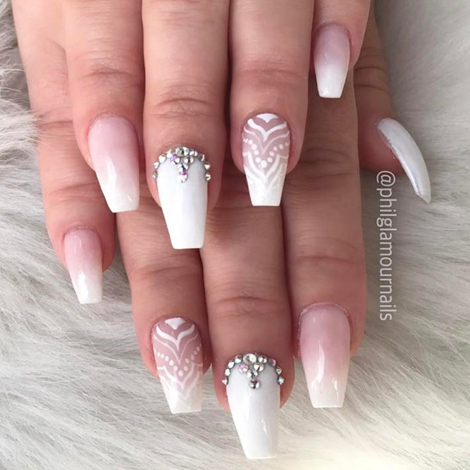 Stunning White Coffin Nail Designs picture 3