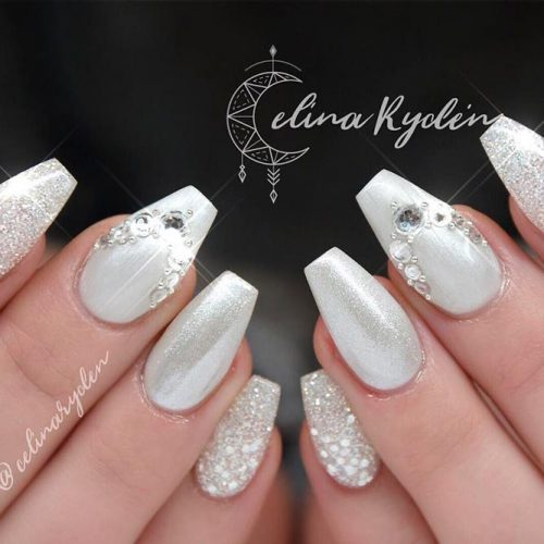 Amazing Designs for Coffin Nail Shape #rhinestonesnails