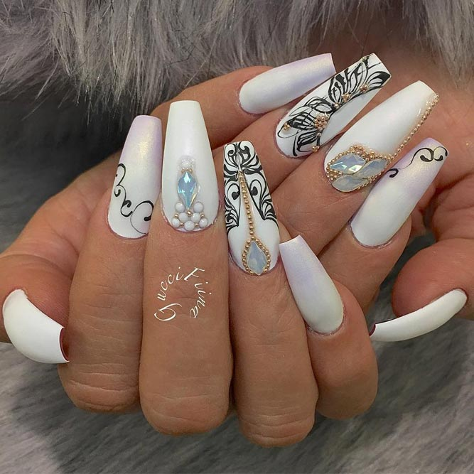 Stunning White Coffin Nail Designs picture 6