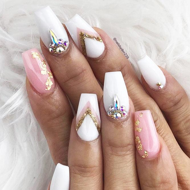 Fancy White Coffin Nails Designs #white #pink #crystals