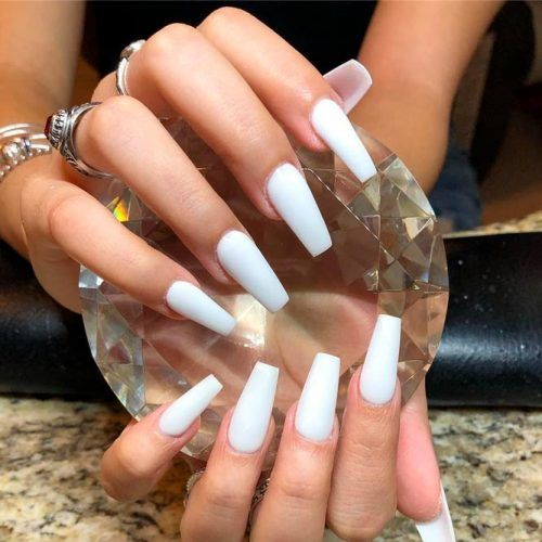 Pure White Coffin Nails #purenails #simplenails