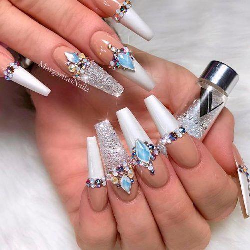 33 Fancy White Coffin Nails Designs