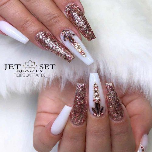 White And Rose Gold Nails Design #rosegoldnails