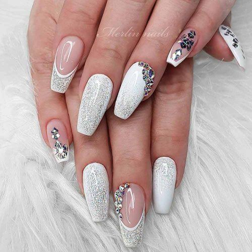 White Coffin Nails With A Glitter Accent #silverglitter