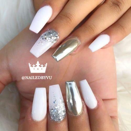 White And Silver Coffin Nails Design #silverglitter #silvermetallic